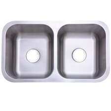 "Marina Gourmetier 31.13"" x 17.88"" Stainless Steel Double Bowl Undermount Kitchen Sink"
