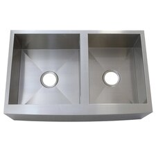 "Denver 30"" x 21"" Gourmetier Double Bowl Farm House Kitchen Sink"