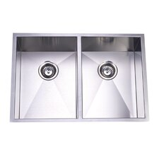 "Towne Square 20.06"" x 29"" Gourmetier Stainless Steel Double Bowl Undermount Kitchen Sink"