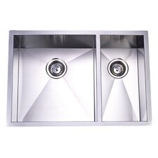 "<strong>Kingston Brass</strong> Towne Square 20.06"" x 29"" Gourmetier Stainless Steel Double Bowl Undermount Kitchen Sink"