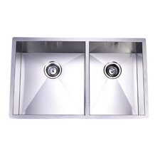 "<strong>Kingston Brass</strong> Gourmetier 20.06"" x 20.06"" Stainless Steel Double Bowl Undermount Kitchen Sink"