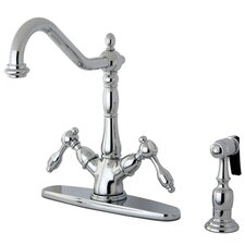 <strong>Kingston Brass</strong> Tudor Double Handle Mono Deck Mount Kitchen Faucet with Brass Spray