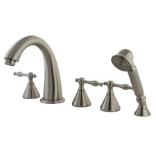 Naples Three Handle Roman Tub Filler with Hand Shower