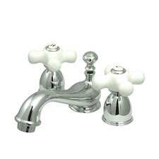 <strong>Kingston Brass</strong> Restoration Double Handle Mini Widespread Bathroom Sink Faucet with Brass Pop-up