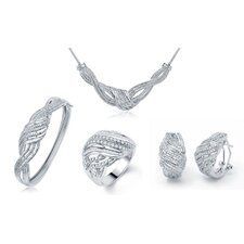 Brass Diamond Necklace, Bracelet, Ring and Earring Set