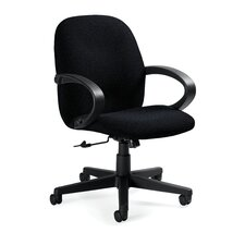 <strong>Global Total Office</strong> Enterprise Low-Back Pneumatic Office Chair with Fixed Height Loop Arms