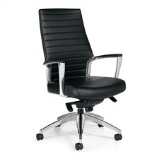 <strong>Global Total Office</strong> High-Back Leather Managerial Chair with Knee-Tilter