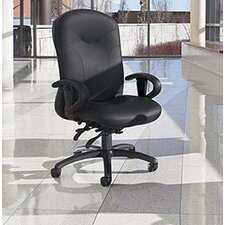 High-Back Leather Multi-Tilter Office Chair with Arms