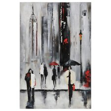 Bustling City I by Dominic Lecavalier Painting Print on Canvas