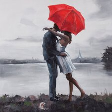 Kissing in the Rain by Giovanni Russo Painting Print on Canvas