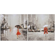 Evening Showers Canvas Wall Art (Set of 2)
