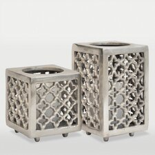 2 Piece Caravan Aluminum Candle Holder Set