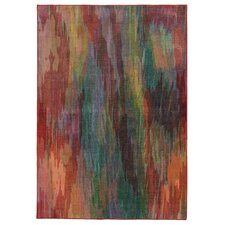 Prismatic Abstract Red Area Rug