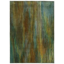 Prismatic Green Abstract Area Rug