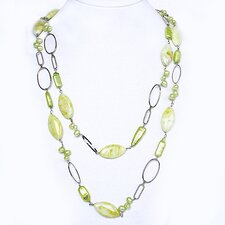 Copper Chain Necklace with Green Cultured Pearls and Lemon Jade