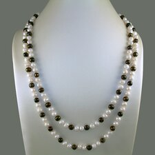 Long Strand Necklace with Black and White Cultured Pearls