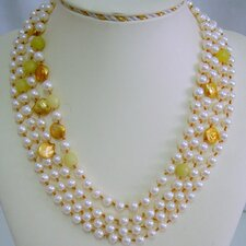 Multi-Strand White and Gold Cultured Pearl Necklace Crafted on Brown Thread with Lemon Agate