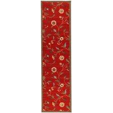 Ottohome Dark Red Floral Garden Rug