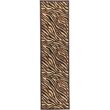 Ottohome Chocolate Animal Print Zebra Rug