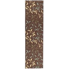 Ottohome Chocolate Leaves Rug