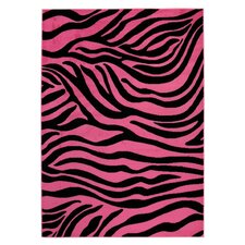 <strong>Ottomanson</strong> Ultimate Shaggy Pink/Black Animal Print Zebra Rug