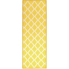 Pink Contemporary Yellow Moroccan Trellis Area Rug