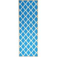 Pink Contemporary Blue Moroccan Trellis Area Rug