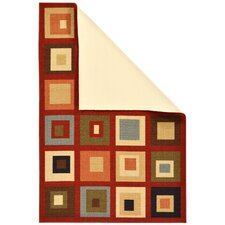Ottohome Dark Red Boxes Area Rug