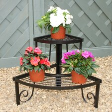 Two Tier Corner Pot Stand in Black