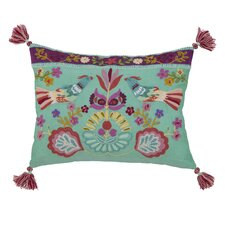 Singing Birds Embroidered Decorative Pillow