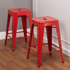 """24"""" Avalon Metal Stackable Stool (Set of 2)"""