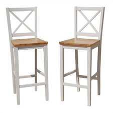 "30"" Virginia Crossback Bar Stool in White (Set of 2)"