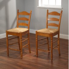 "24"" Ladder Back Stool in Oak (Set of 2)"