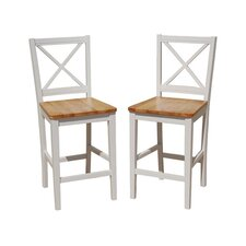 "24"" Virginia Crossback Counter Stool in White (Set of 2)"