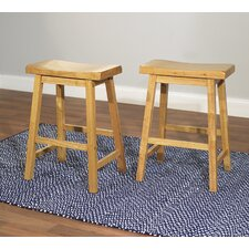 "24"" Belfast Saddle Stool in Rustic Oak (Set of 2)"