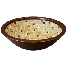 Double Walled Oval Mosaic Bathroom Sink