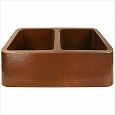 "<strong>Linkasink</strong> 33"" x 20"" Double Bowl Farmhouse Kitchen Sink"