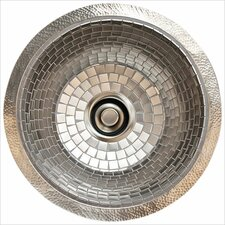 "19"" x 19"" Stainless Steel Mosaic Large Round Flat Bottom Bar Sink"