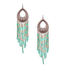 Beaded Bohemian Layered Drop Earrings