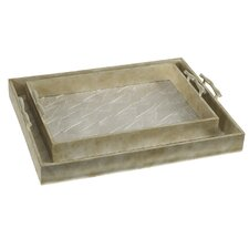 2 Piece Decorative Tray Set