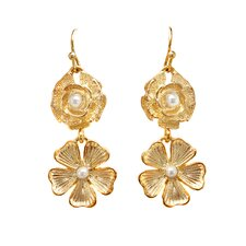 Double Flower Faux Pearl Drop Earrings