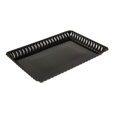 Flairware Rippled Bulk Disposable Plastic Serving Tray (48/Case)