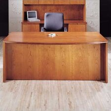 "<strong>High Point Furniture</strong> Forte 72"" W Full Double Pedestal Bow Front Executive Desk - 2 File/4 Box Drawers"
