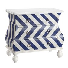 Chevron Bombe 3 Drawer Chest