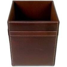 3200 Series Rustic Leather Square Waste Basket
