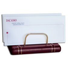 5800 Series Gold-Striped Leather Letter Holder in Burgundy