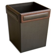 8000 Series Rosewood and Leather Square Waste Basket
