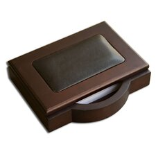 <strong>Dacasso</strong> 8000 Series Walnut and Leather 4 x 6 Memo Holder in Black