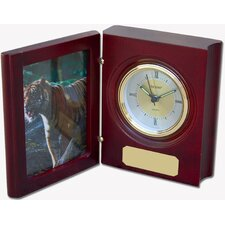 Birchwood and Metal Kennedy Desk Clock
