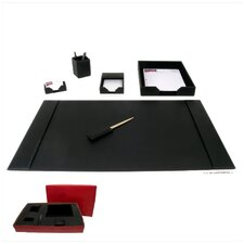 1400 Series Econo-Line Leather Six-Piece Desk Set in Black